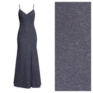 [Eliza J] Glitter Knit Crepe High Slit Formal Gown